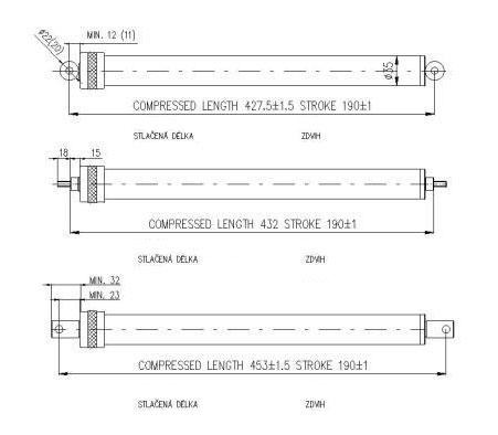 Montážní délky automatického otvírače