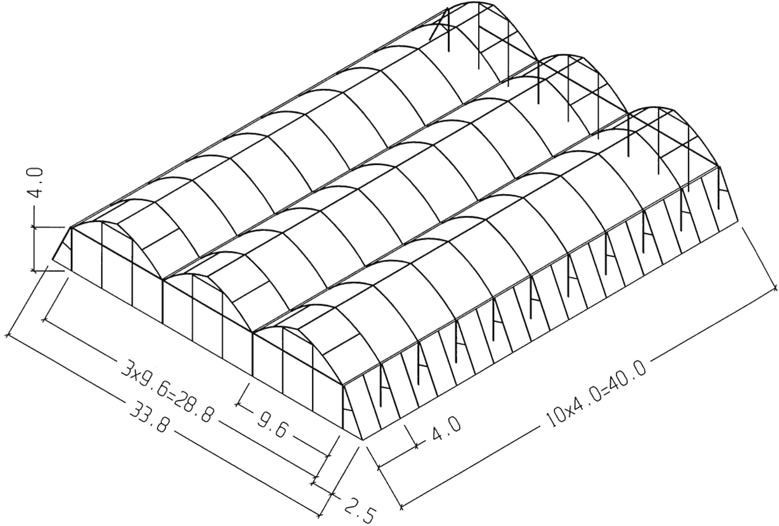 profi skleník Golan 33,8 × 40 m