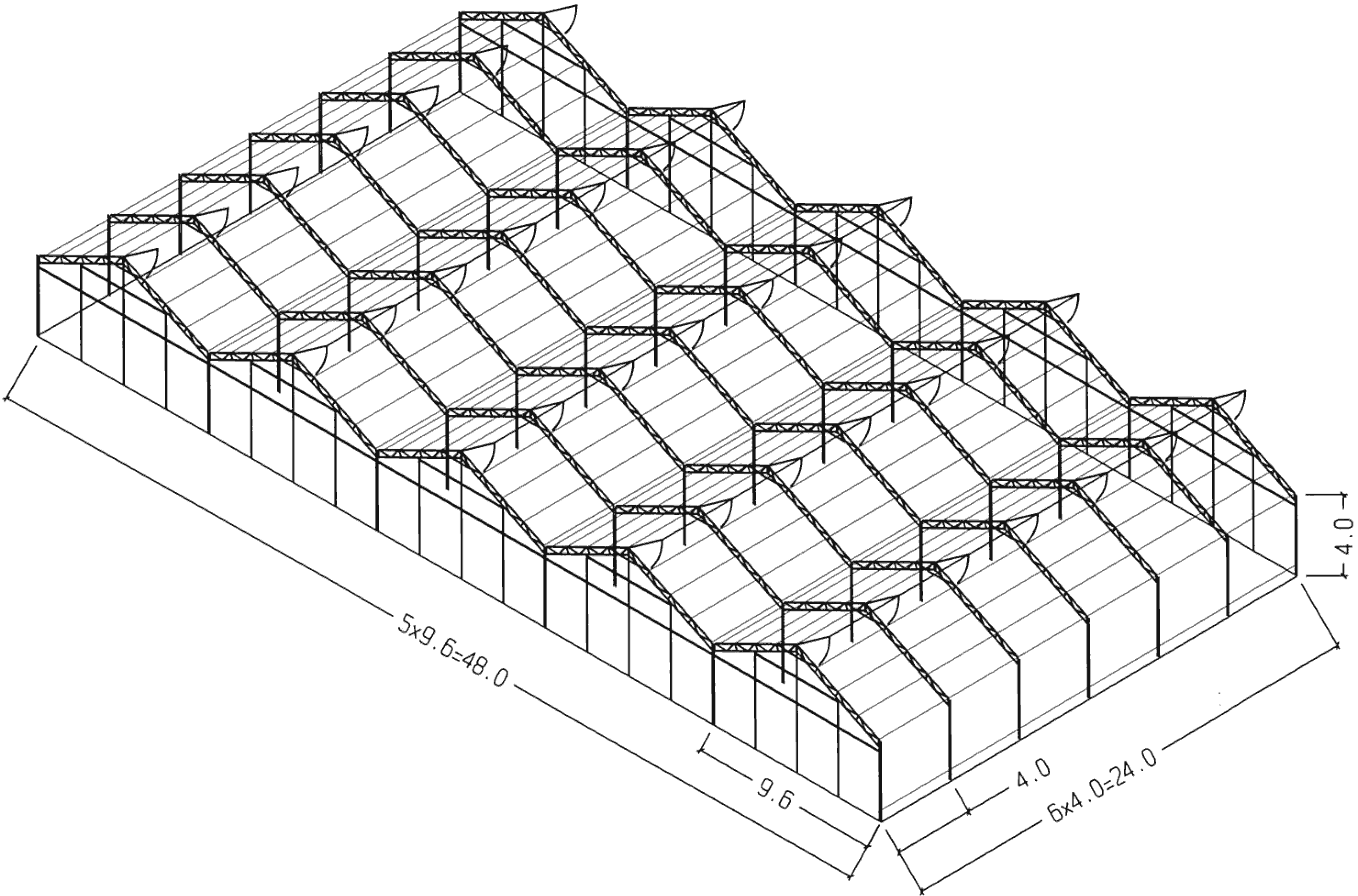 profi skleník Tavor 48 × 24 m
